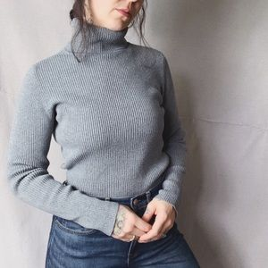 GAP 01 Ribbed Fitted Turtleneck Grey Medium